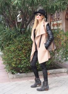 camel coat velvet leggings neverfull louis vuitton wool sweater hat sunnies