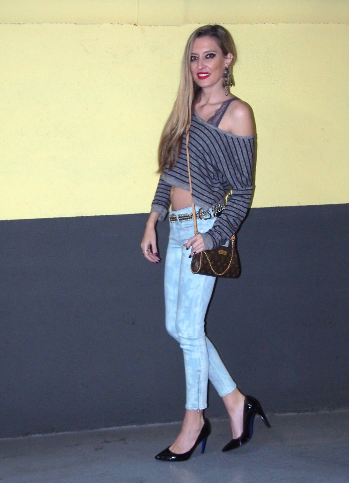 skinny jeans and crop top outfit bymyheels