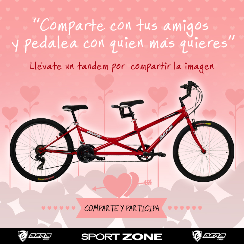 Cartel del sorteo de la bicicleta tandem en Sport Zone