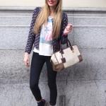 Blazer, New Balance sneakers and Loewe bag