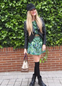 over the knee socks with dress, hat, perfecto jacket and biker boots