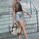 Shorts, cropped top and platforms