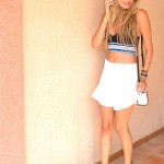 White skirt and crop top