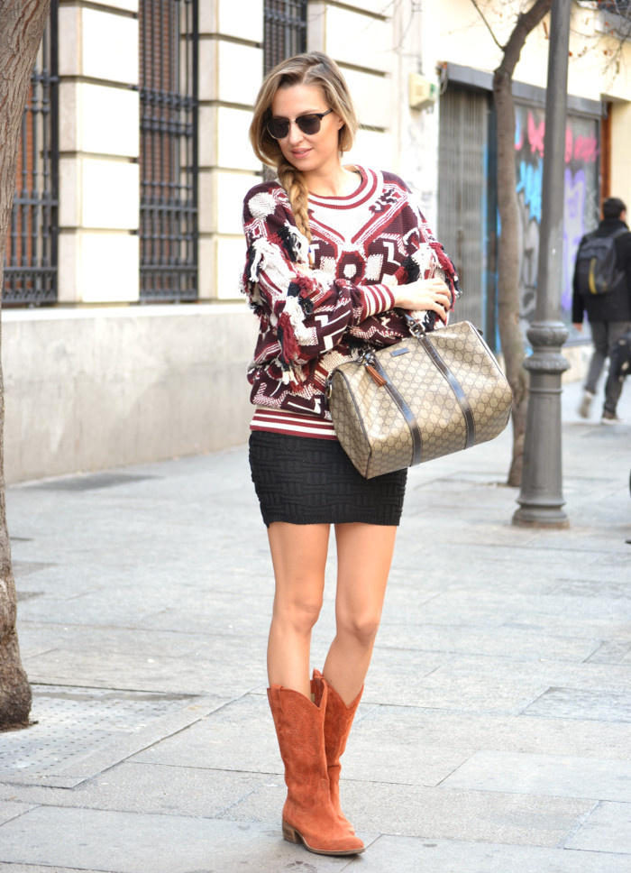 Aztec_Print_Sweater_Zara_Clubmaster_Ray_Ban_Botas_Boston_Bag_Gucci_Falda_Negra_Lara_Martin_Gilarranz_Bymyheels (1)