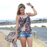 Asymmetrical flowers print top